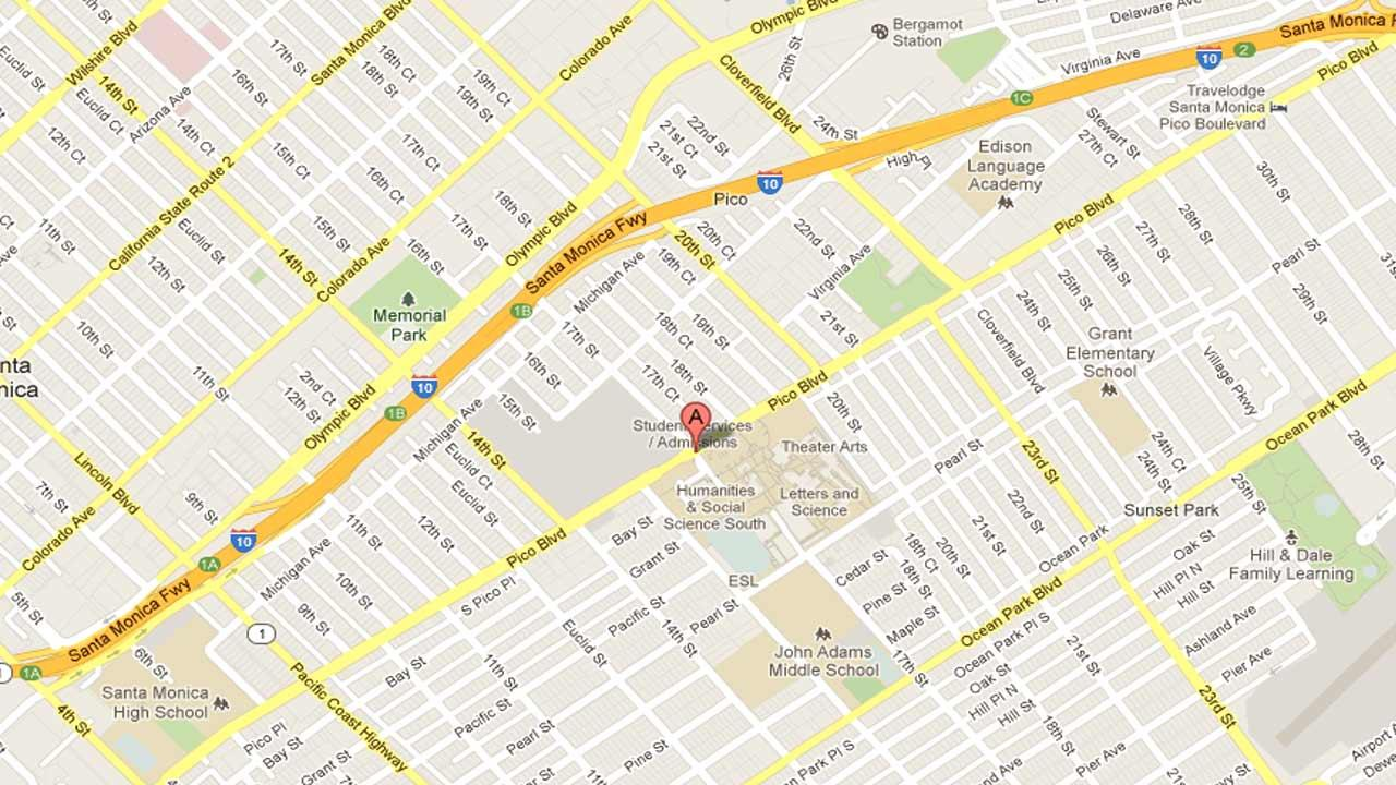 A map indicates the area near 20th Street and Pico Boulevard in Santa Monica where a man shot an unidentified woman several times Saturday, Dec. 8, 2012.