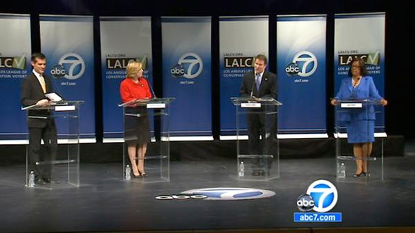 LA mayor debate: Green economy, jobs at center