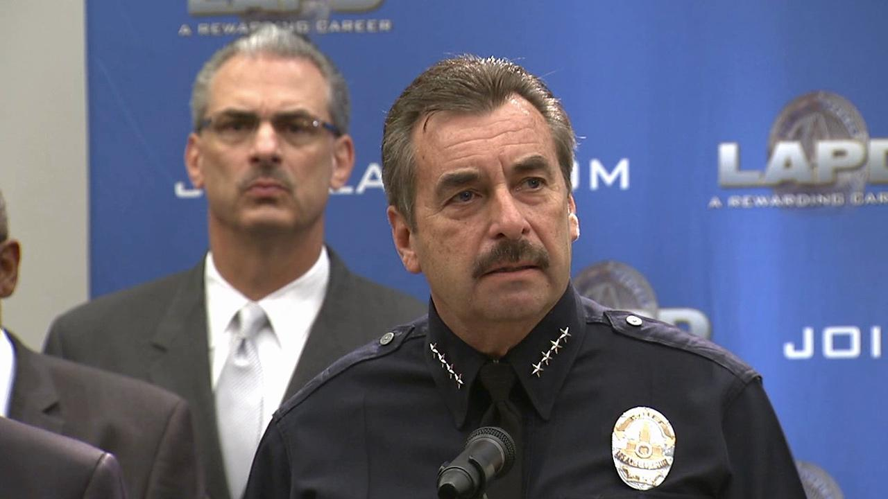 LAPD Chief Charlie Beck speaks during a news conference about guns and school safety on Monday, Dec. 17, 2012.
