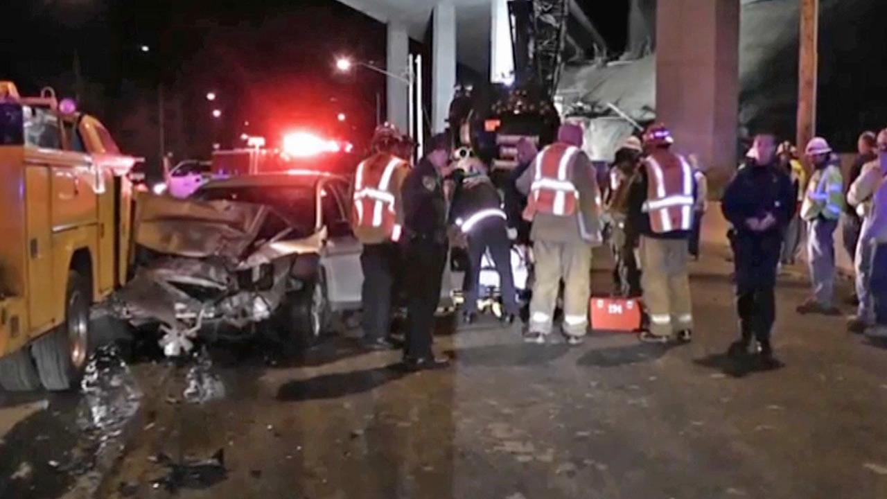 A car traveling the wrong way crashed into a construction zone in Santa Clarita on Friday, Dec. 29, 2012.