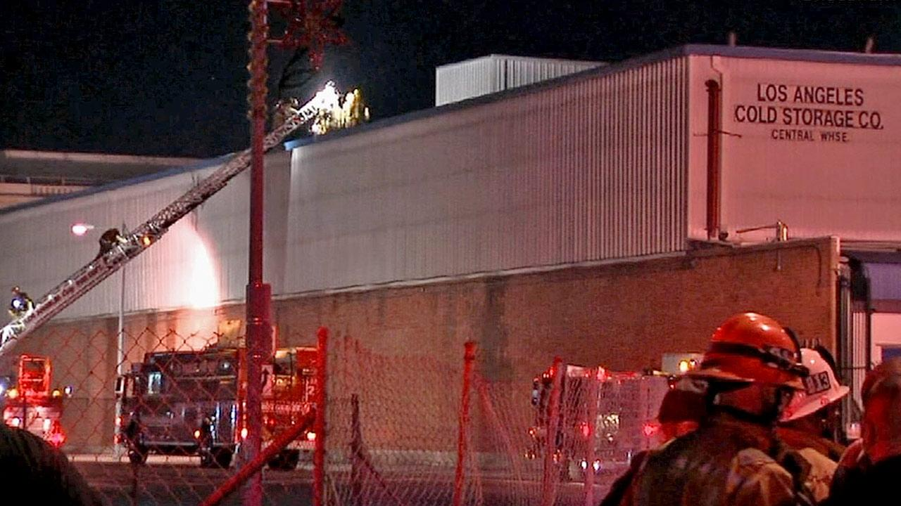 Firefighters said they sealed a significant ammonia leak coming from a pipe at a cold storage facility in downtown Los Angeles on Saturday, Dec. 29, 2012.