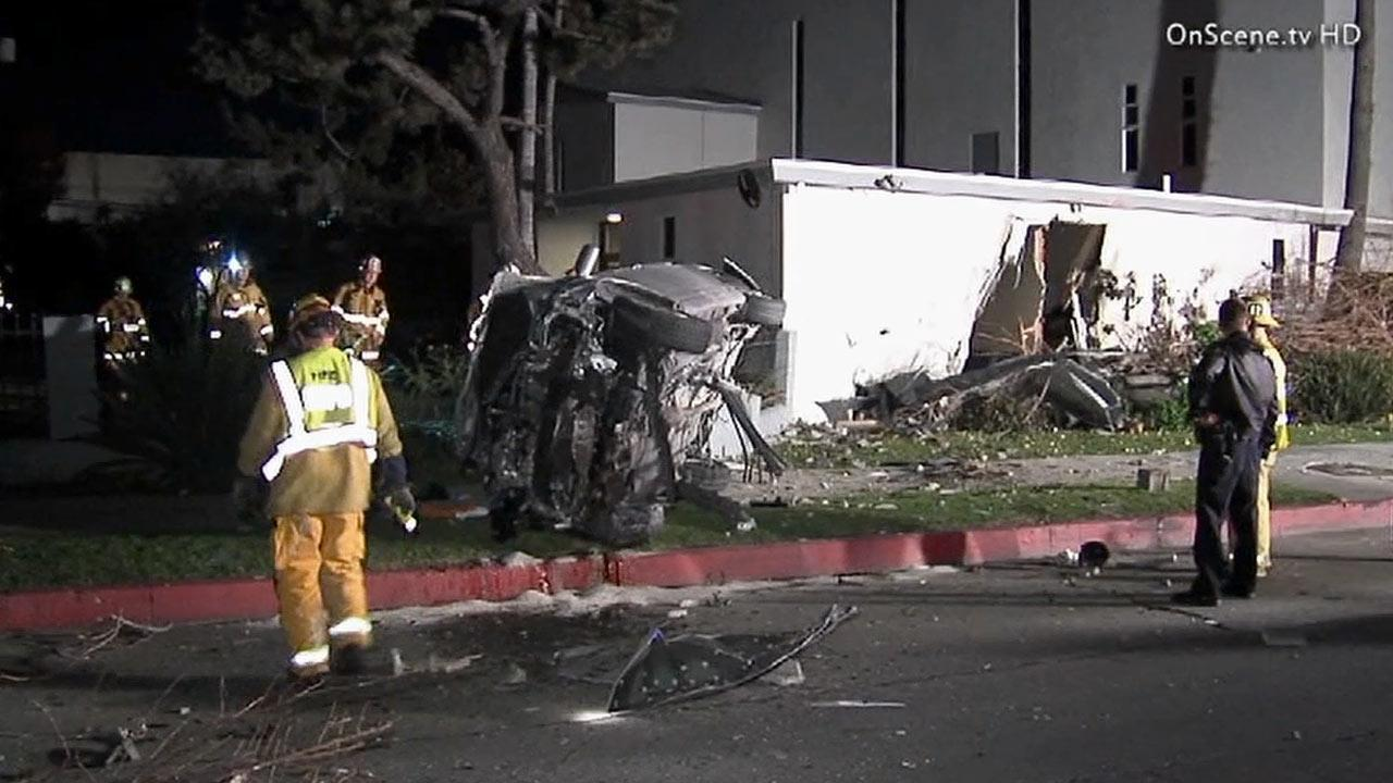 The Los Angeles Fire Department responded to the 11800 block of West Washington Boulevard after a driver plowed into the side of the Seventh-Day Adventist Church on Monday, Dec. 31, 2012.