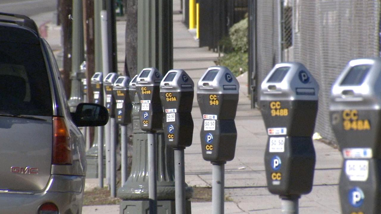 Parking meters in the city of Los Angeles on Tuesday, Jan. 8, 2013.