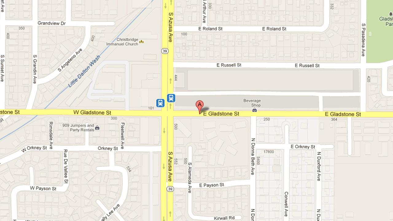 A map indicates the area near a Rite Aid located at 154 East Gladstone Street in Azusa where Brilata Isabelle, 34, was arrested for armed robbery Friday, Jan. 11, 2013.