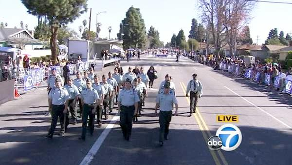 The Garfield High School JROTC is seen during the 28th annual Kingdom Day Parade in South Los Angeles on Saturday, Jan. 19, 2013.