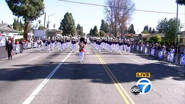 The Beckman High School marching band is seen during the 28th annual Kingdom Day Parade in South Los Angeles on Saturday, Jan. 19, 2013.