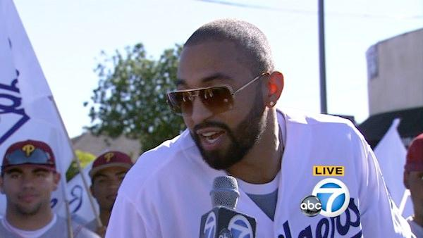 Grand Marshal and Dodgers outfielder Matt Kemp is seen during the 28th annual Kingdom Day Parade in South Los Angeles on Saturday, Jan. 19, 2013.