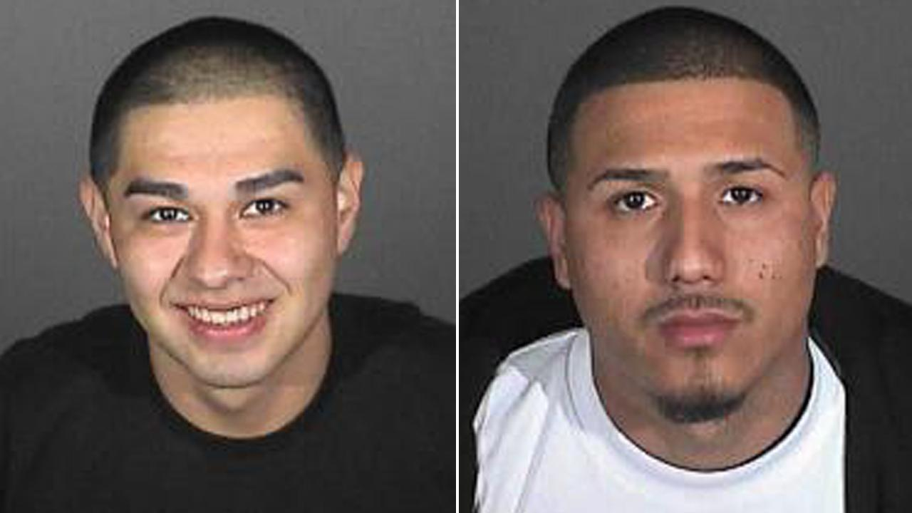 Jeffrey Aguilar, 19, and Efren Marquez, 21, are shown in booking photos provided by the Los Angeles County Sheriffs Department. The two were arrested in connection with a series of hate crimes in Compton.