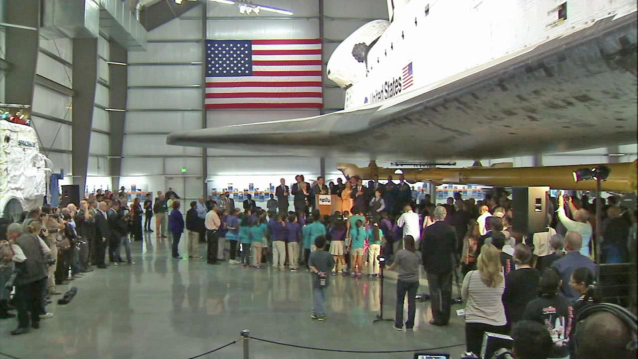 The space shuttle Endeavour exhibit at the California Science Center is seen in this undated file photo.