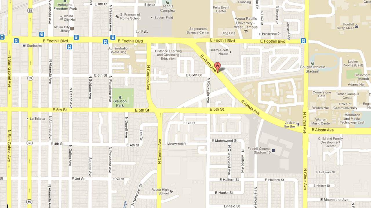 A map indicates the location of a robbery attempt involving a group of local college students on the 700 block of East Alosta Avenue in Azusa on Sunday, Feb. 3, 2013.