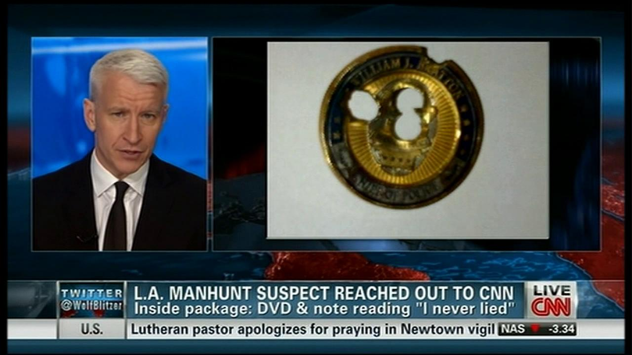 A screenshot shows CNN anchor Anderson Cooper talking on his news program on Thursday, Feb. 7, 2013.