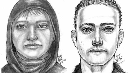 Police have released sketches of two of the men accused of robbing and killing a tourist from Hong Kong in West Covina on Friday, Feb. 1, 2013.