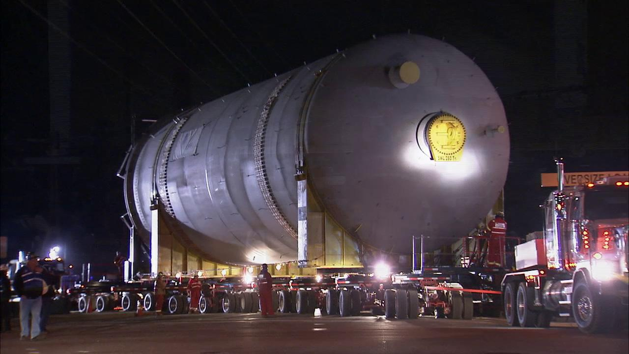 One of two massive Chevron coker drums makes its way from Redondo Beach to a refinery in El Segundo on Thursday, Feb. 21, 2013.