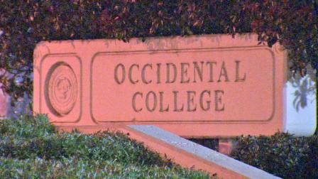 A sign for Occidental College in Eagle Rock is shown in this undated file photo.