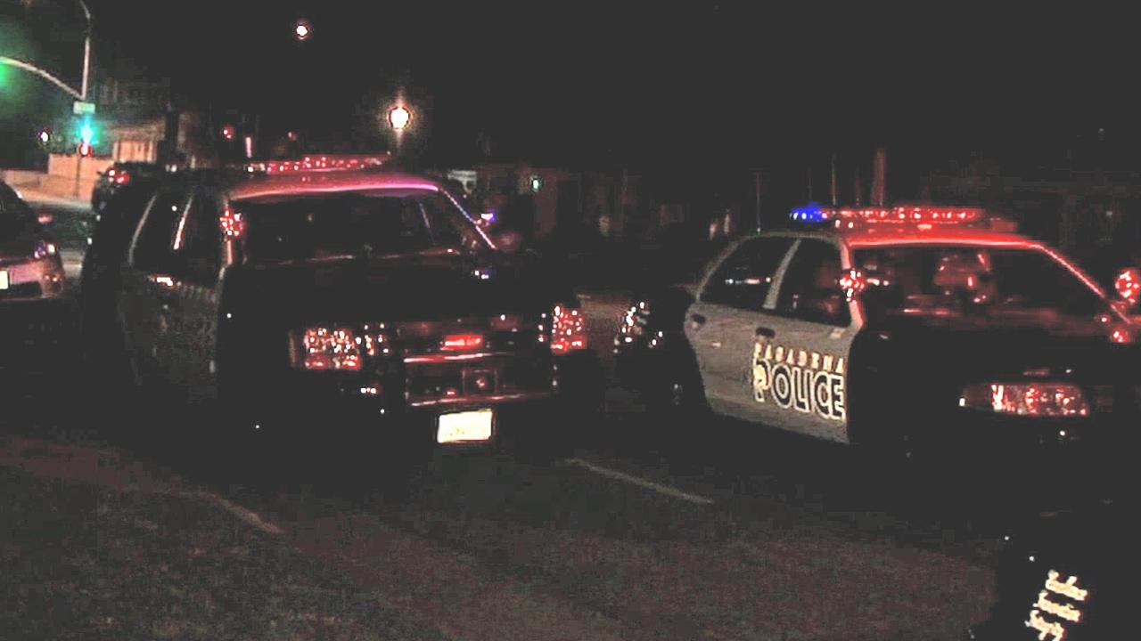 Pasadena police patrol cars are shown near the scene of a deadly shooting in the 600 block of Mar Vista Avenue on Thursday, Feb. 28, 2013.