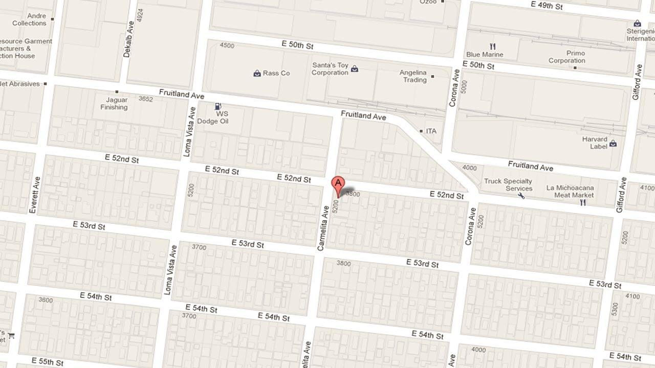 A map indicates the area near the 3800 block of East 52nd Street in Maywood where a man was shot to death in his backyard on Saturday, March 2, 2013.