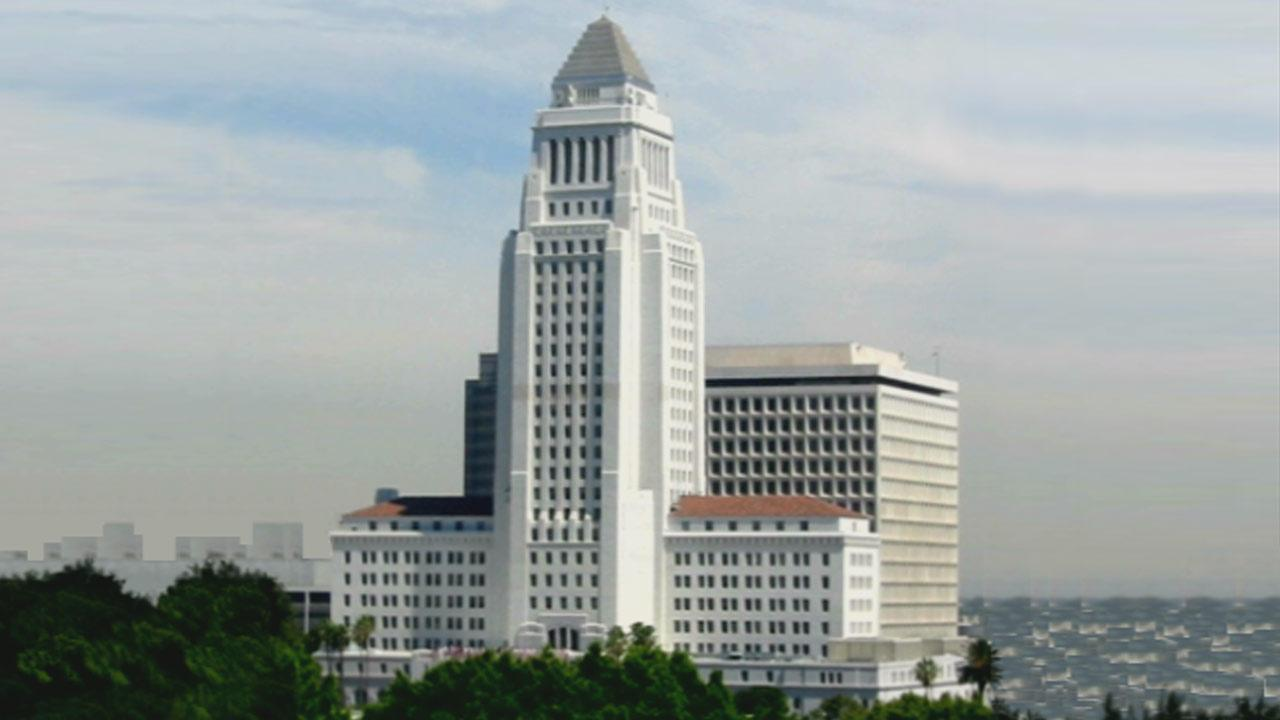 Undated file photo of Los Angeles City Hall.