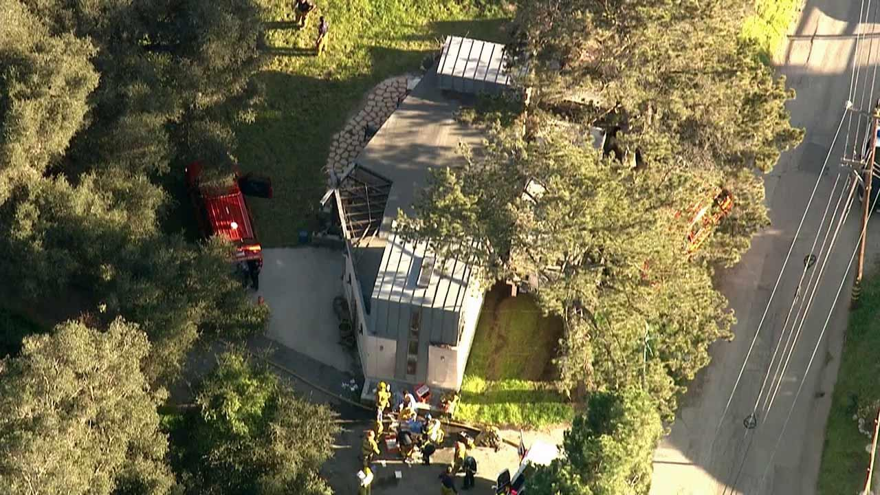 Investigators believe chemicals used to refine marijuana sparked a fire inside a rental home near Malibu Creek State Park Monday, March 11, 2013.