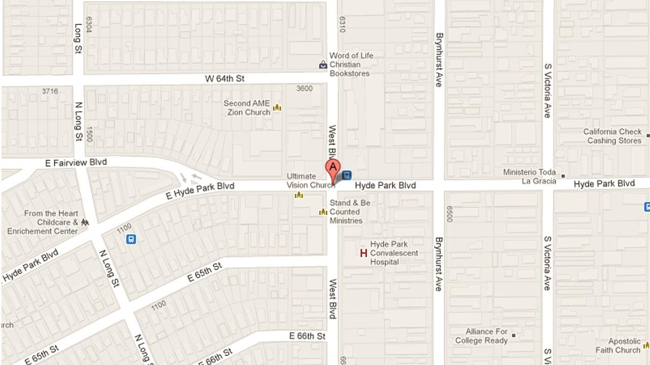 A map indicates the area near Hyde Park and West boulevards in South Los Angeles where a USC student was killed in a two-vehicle crash on Sunday, March 17, 2013.