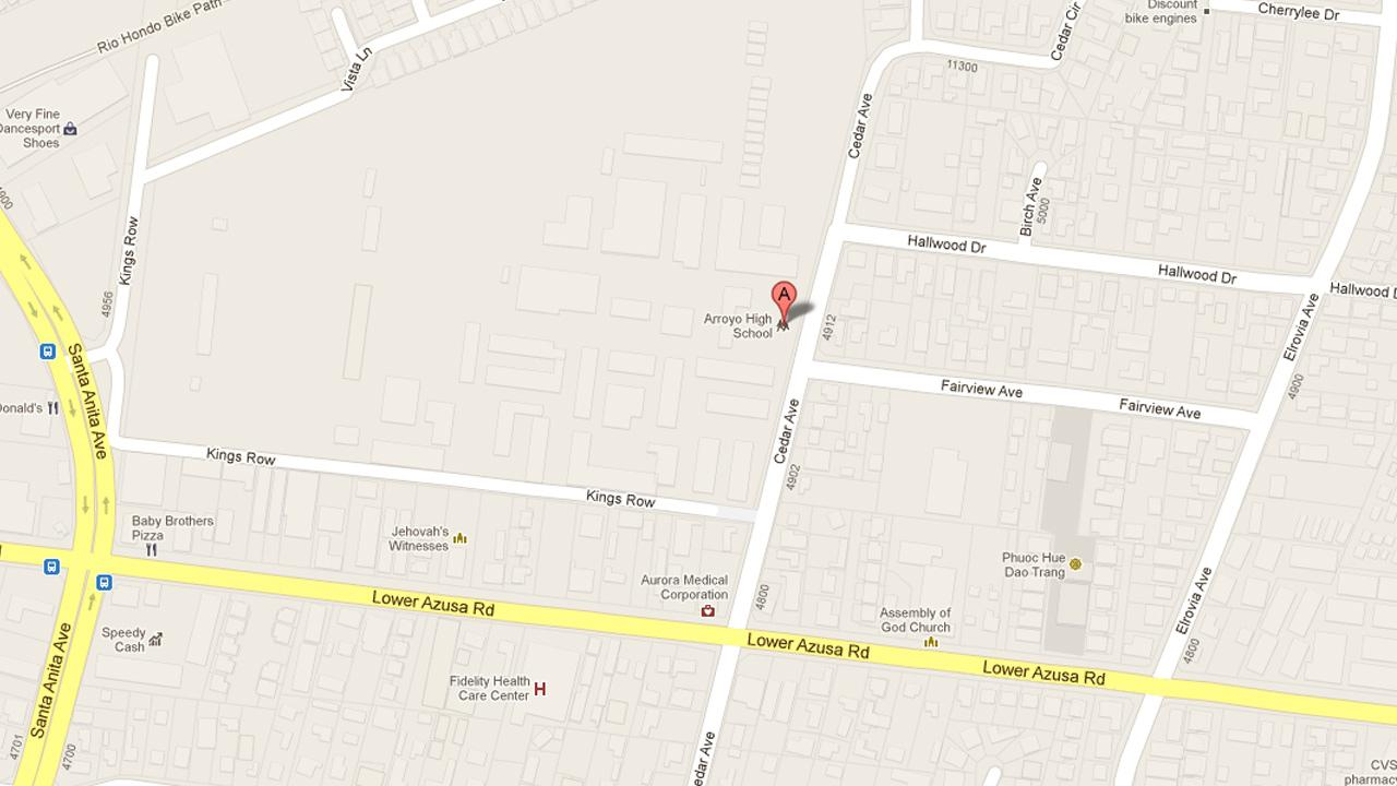 A map indicates the location of Arroyo High School in El Monte, Calif.