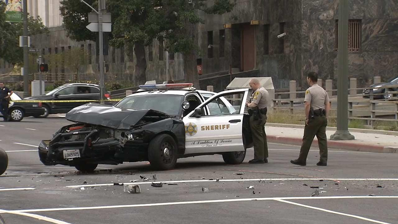 Seven people were injured, four of them seriously, in a traffic crash involving a law enforcement vehicle near Olvera Street in Los Angeles on Sunday, March 31, 2013.