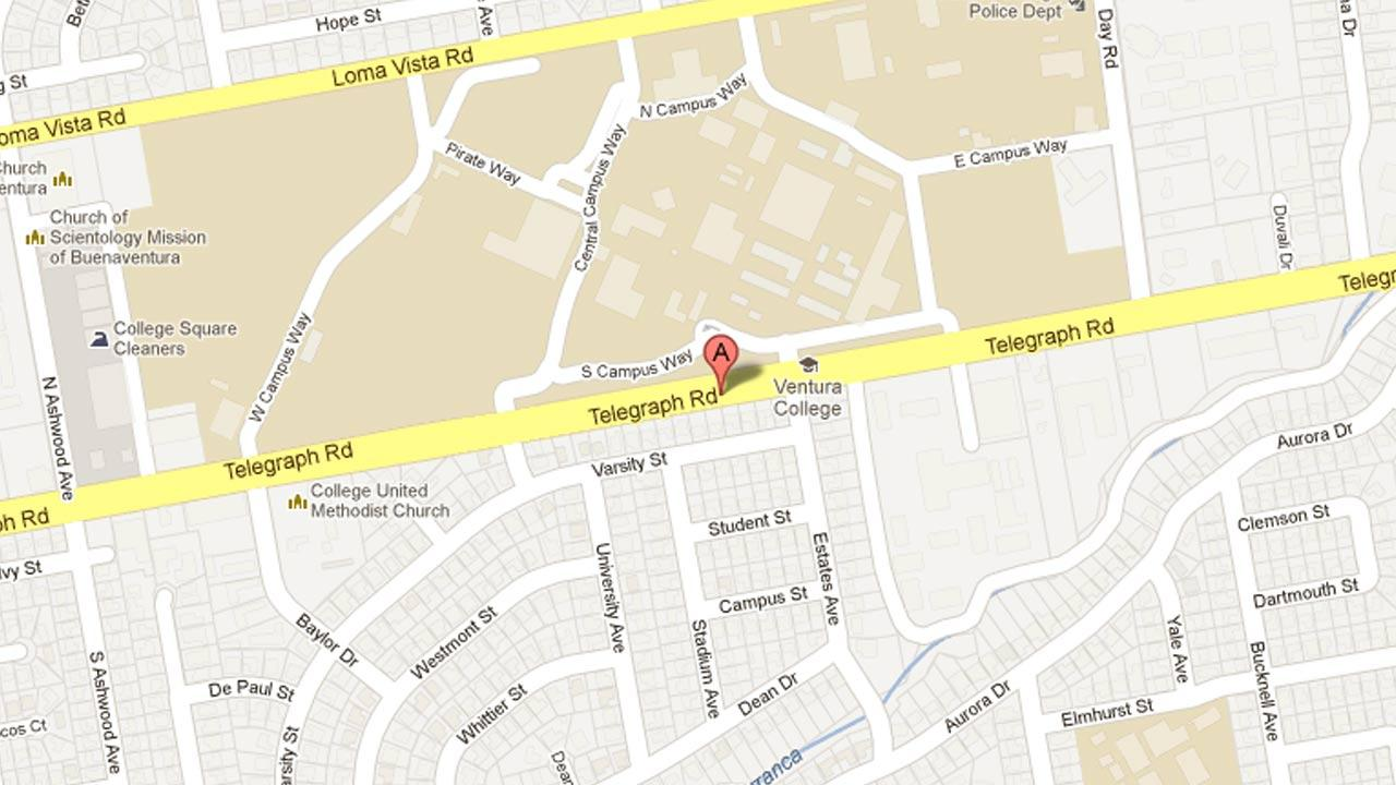 A map indicates the area near the 4600 block of Telegraph Road in Ventura where a 21-year-old man was assaulted by five alleged gang members on Sunday, April 14, 2013.