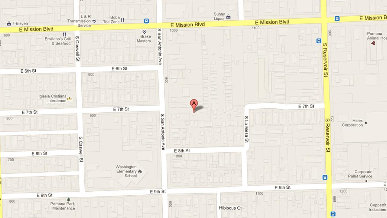 A map indicates the area near the 1000 block of East Mission Boulevard in Pomona where police arrested a 17-year-old juvenile after he was found to be in possession of cocaine and methamphetamine packaged for sales Friday, April, 19, 2013.