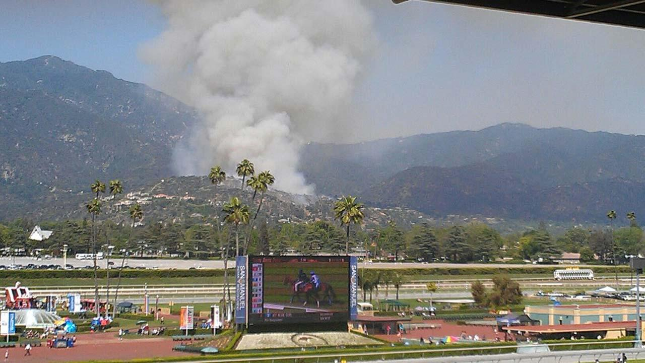 Firefighters responded to a brush fire in the area of Hillcrest Boulevard and Madison Avenue in Monrovia on Saturday, April 20, 2013. <span class=meta>(Maria Yayoshi)</span>