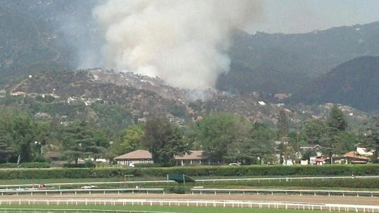 Firefighters responded to a brush fire in the area of Hillcrest Boulevard and Madison Avenue in Monrovia on Saturday, April 20, 2013. <span class=meta>(Eric Velasco)</span>