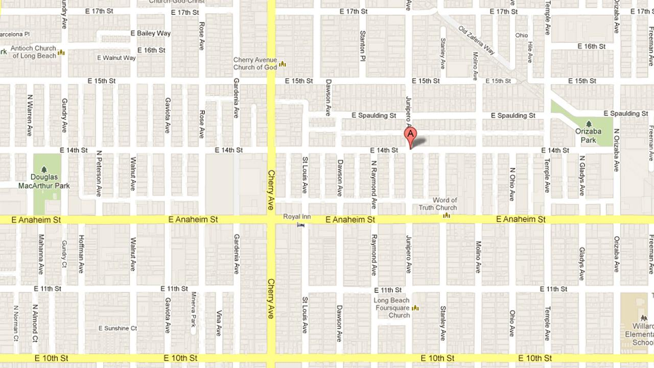 A map indicates the location where police found a man fatally shot in the 1400 block of Junipero Avenue in Long Beach on Sunday, April 28, 2013.