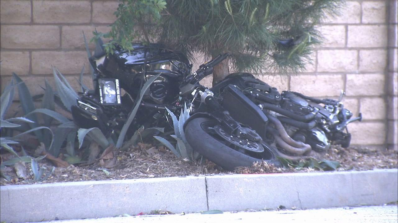 A motorcycle is seen following a high-speed chase and crash in Glendale on Sunday, April 28, 2013.