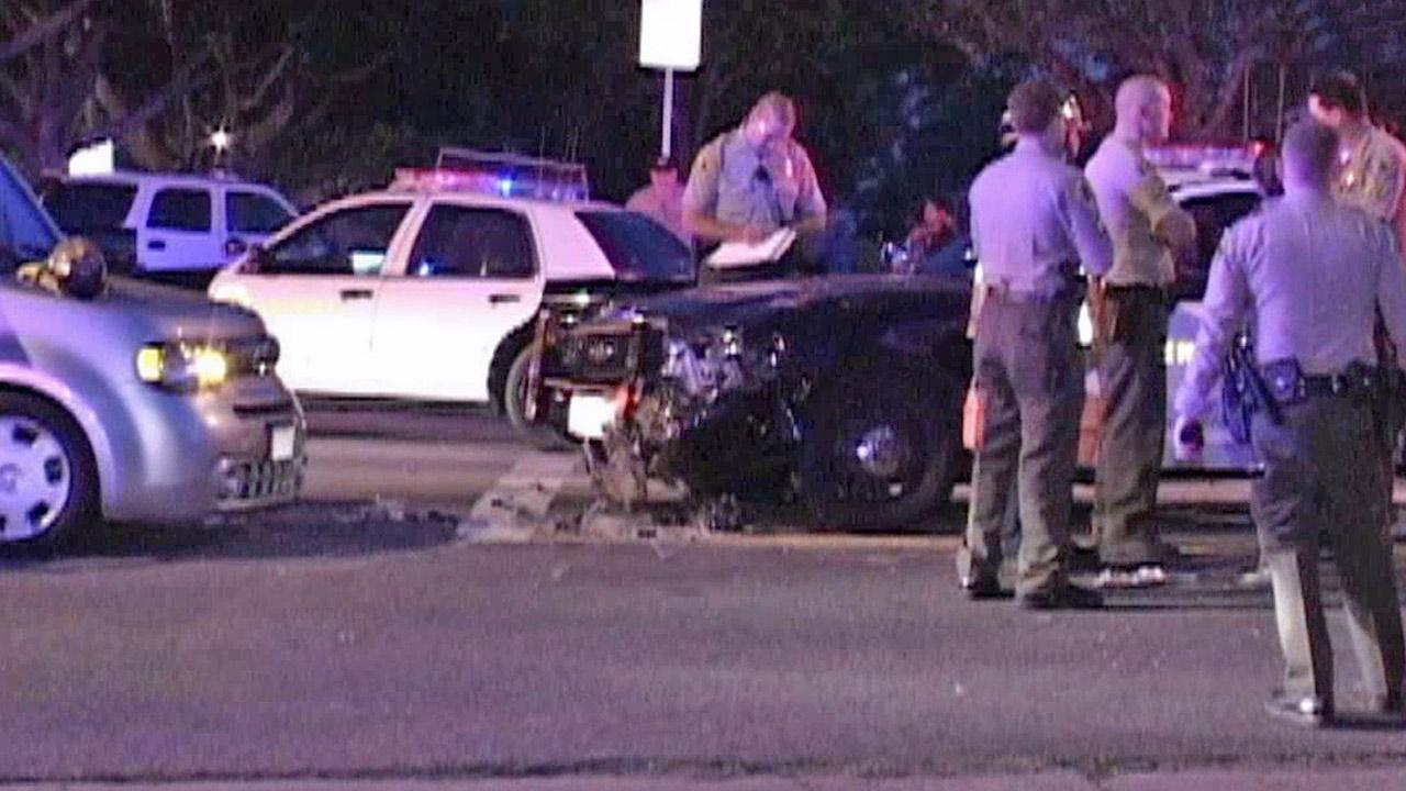 A deputy cruiser and a civilian vehicle were involved in a crash at Bellflower Boulevard and Candlewood Street in Lakewood on Saturday, May 11, 2013.