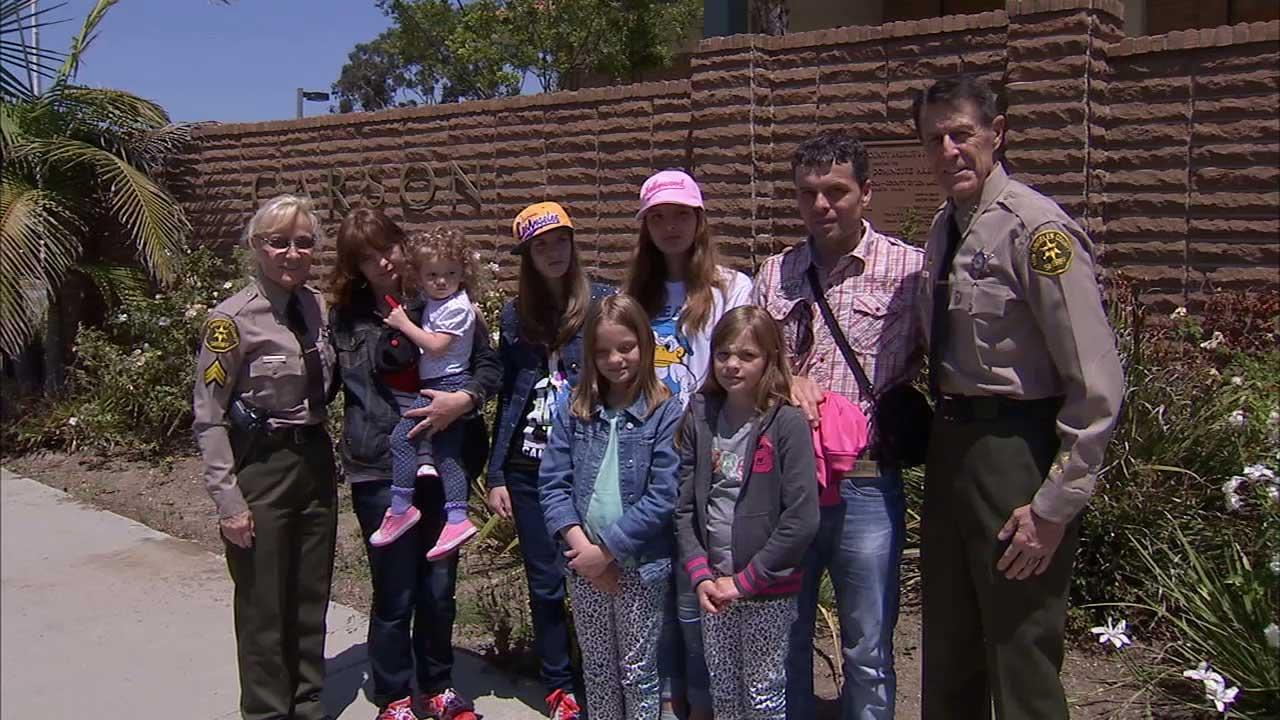 Carson sheriffs deputies provided a stranded Swedish family of seven with food and hotel accommodations after they were spotted walking up Sepulveda Boulevard in Torrance on Friday, May 17, 2013.