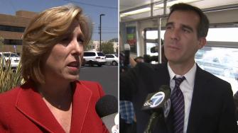 Eric Garcetti, left, and Wendy Greuel, right, talk to Eyewitness News on Monday, May 20, 2013.