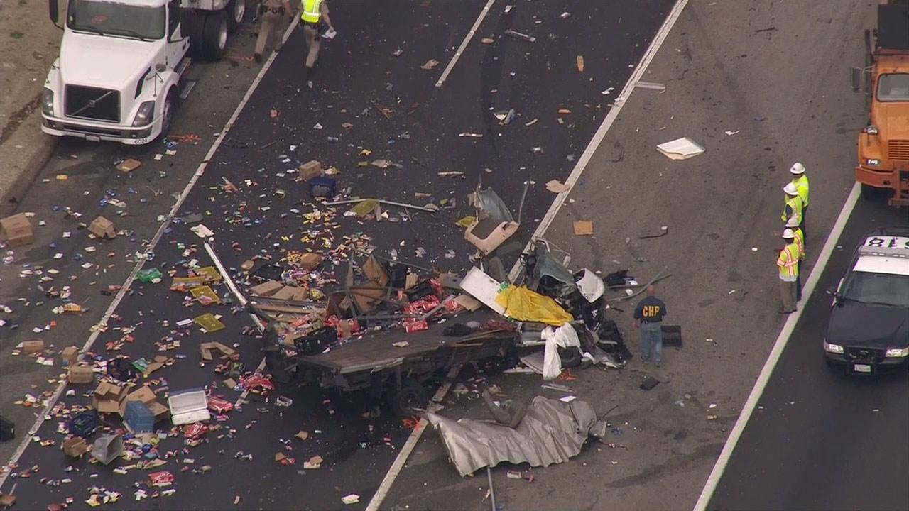 Two people have been killed in a crash involving two trucks on the eastbound 60 Freeway transition road to the southbound 71 Freeway in the Pomona area on Wednesday, May 22, 2013.