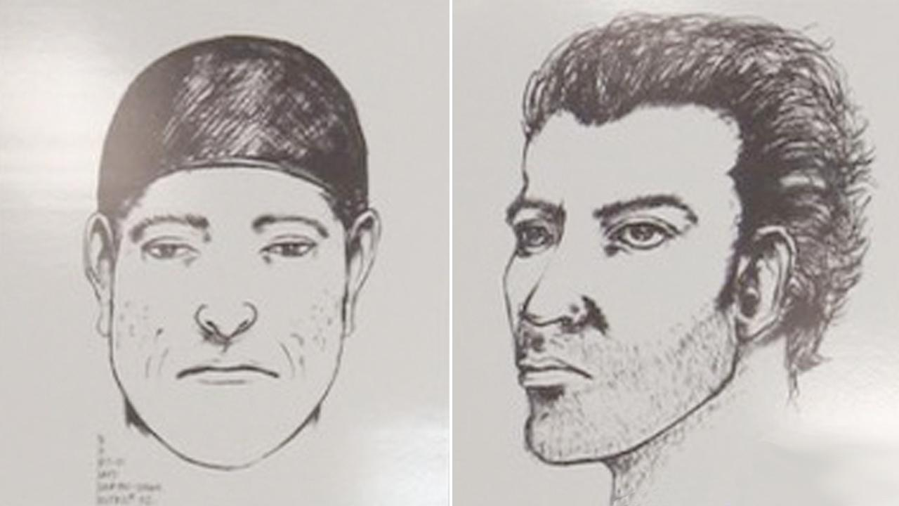 Composite sketches show two suspects wanted in a fatal stabbing on Feb. 16, 2013 at a party in Van Nuys.