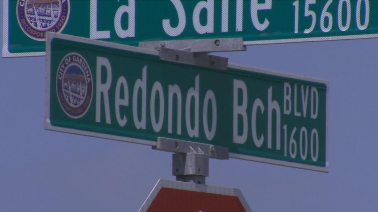 A street sign shows the 1600 block of Redondo Beach Boulevard in Gardena, where an officer-involved shooting occurred on Sunday, June 2, 2013.