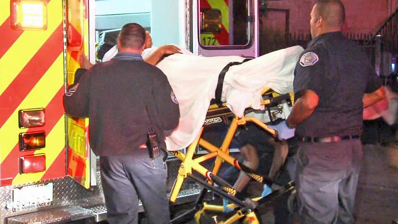 An injured victim is placed in an ambulance following a shooting in Westmont on Wednesday, June 5, 2013.