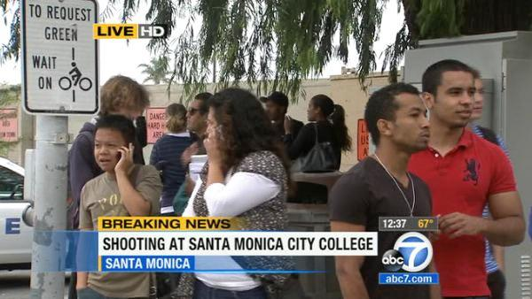 Crowds gather outside Santa Monica College after the school was placed on lockd