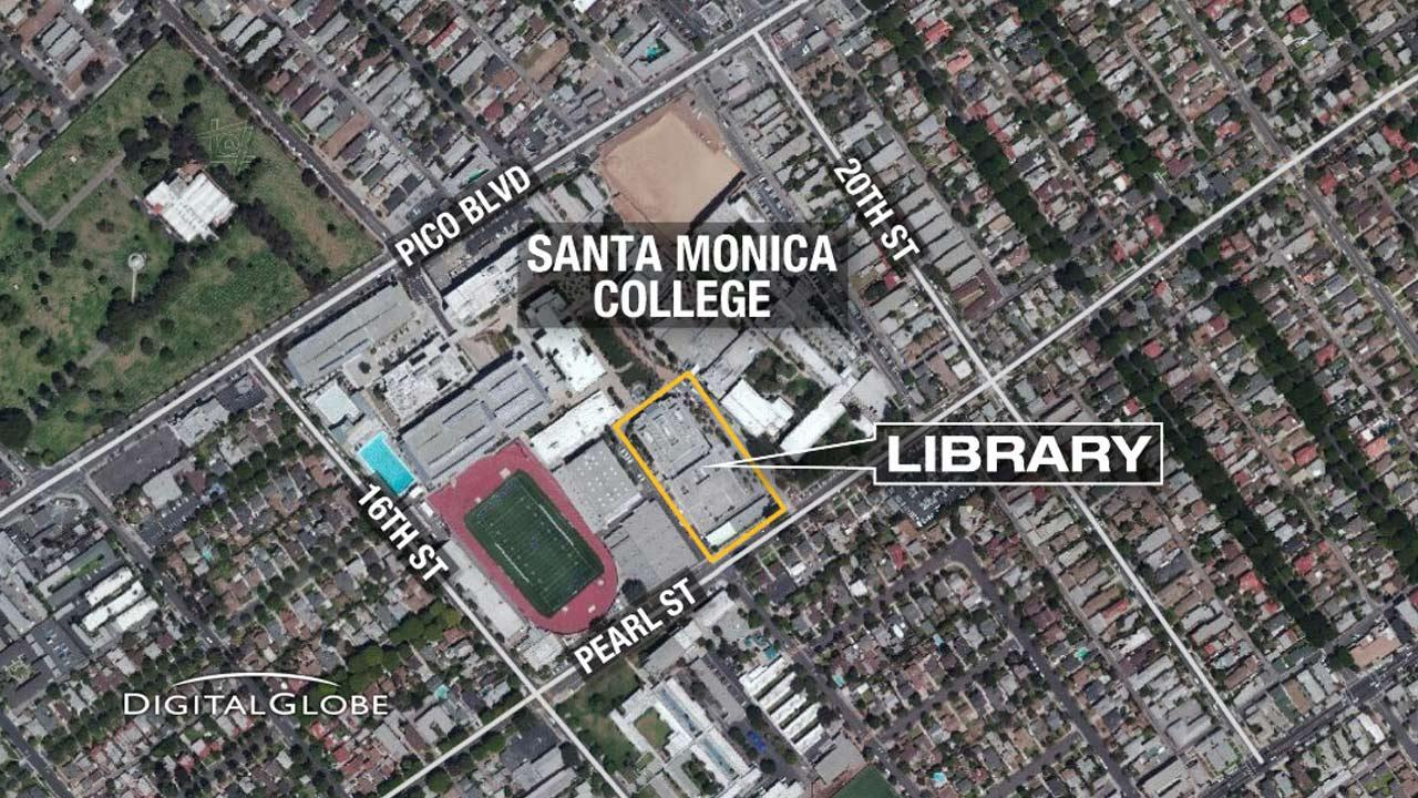 This map shows the location of Santa Monica College, where a deadly shooting spree ended inside the campus library on Friday, June 7, 2013.