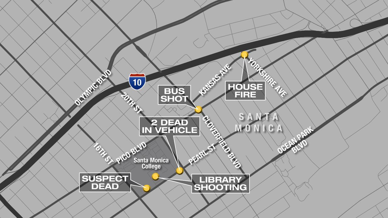 This map shows the locations of the shootings in Santa Monica on Friday, June 7, 2013, including the Santa Monica College campus and Cloverfield and Pico boulevards, as well as a house fire on Yorkshire Avenue where the violence started.