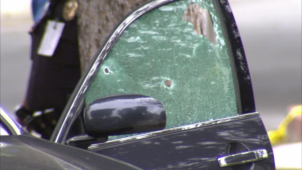 Bullet holes shatter the drivers side window of a vehicle after a gunman opened fire in Santa Monica Friday, June 7, 2013.