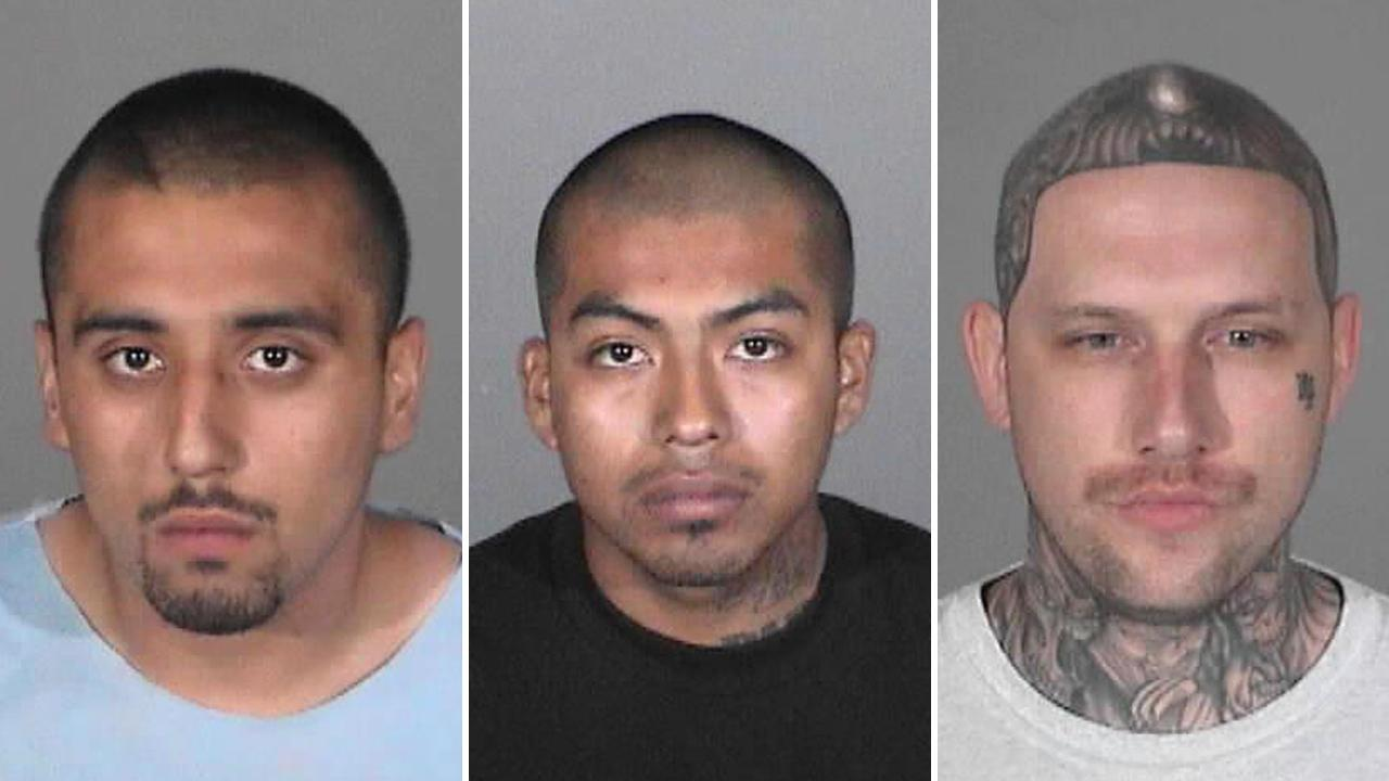 Christopher Chonan Osumi, 19 (left), Meliton Lorenzo Lopez, 23 (center), and Noah Jason Farris, 32 (right), are seen in these photos provided by the Santa Monica Police Department.