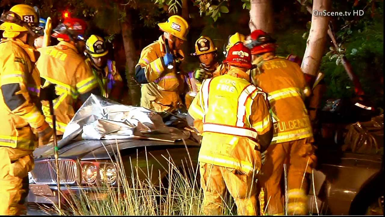 A man was killed and a female passenger was injured after their car struck a tree on Susan Street in Costa Mesa Sunday, June 16, 2013.