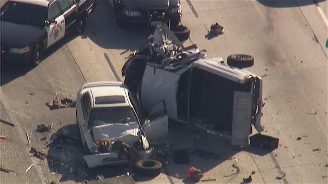 A multiple-vehicle crash caused by a wrong-way driver shut down lanes of the northbound 14 Freeway near Escondido Canyon Road on Monday, June 17, 2013.
