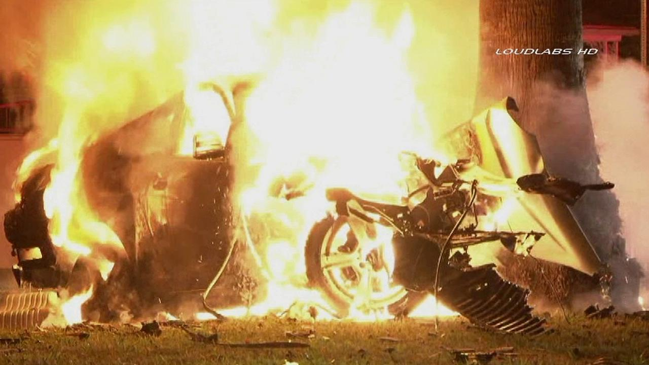 A fiery accident in Los Angeles left one person dead early Tuesday, June 18, 2013.