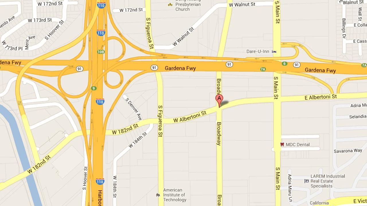 A map shows the approximate location of an injury hit-and-run crash on South Broadway Street, south of West Albertoni Street in Carson on Thursday, June 20, 2013.