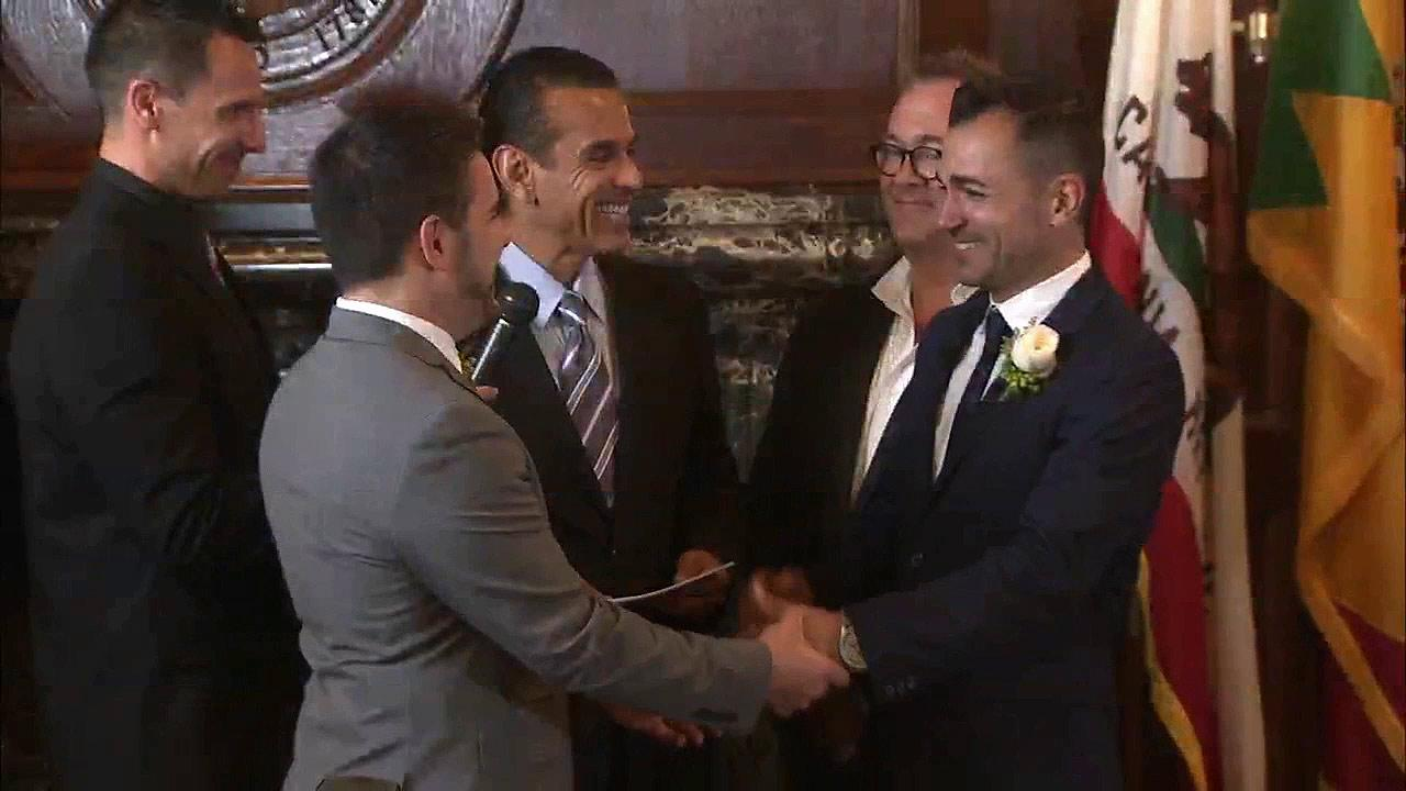 Paul Katami (left) and Jeff Zarrillo (right) got married at City Hall on Friday, June 28, 2013, becoming the second couple to wed after the stay on same-sex marriages was lifted.