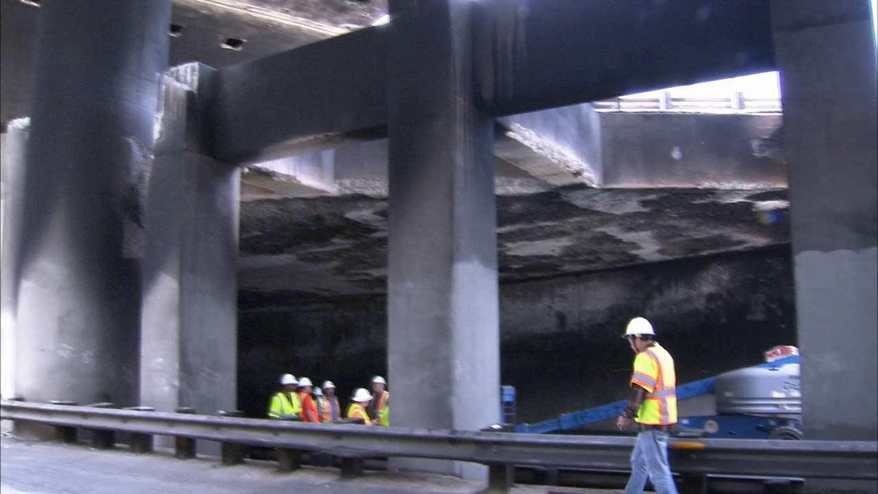 A tanker truck carrying 7,500 gallons of fuel caught fire in a tunnel underneath the 5 Freeway and 2 Freeway interchange in Los Angeles on Saturday, July 13, 2013