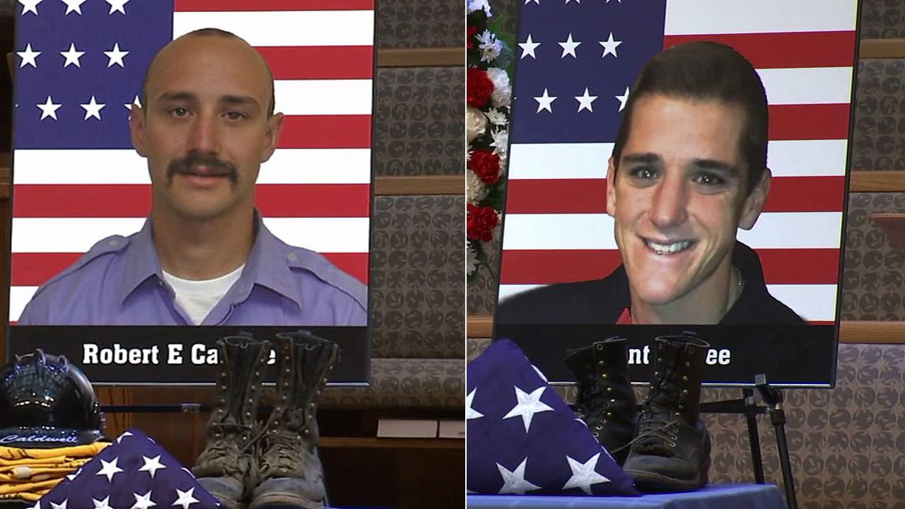 Robert Caldwell, 23, and Grant McKee, 21, were remembered at a memorial service in Newport Beach on Saturday, July 20, 2013.